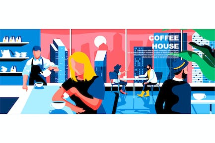 Coffee House Flat Concept Landing Page Header
