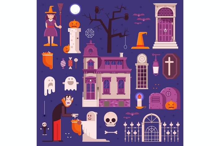 Thumbnail for Halloween Elements and Icons Collection