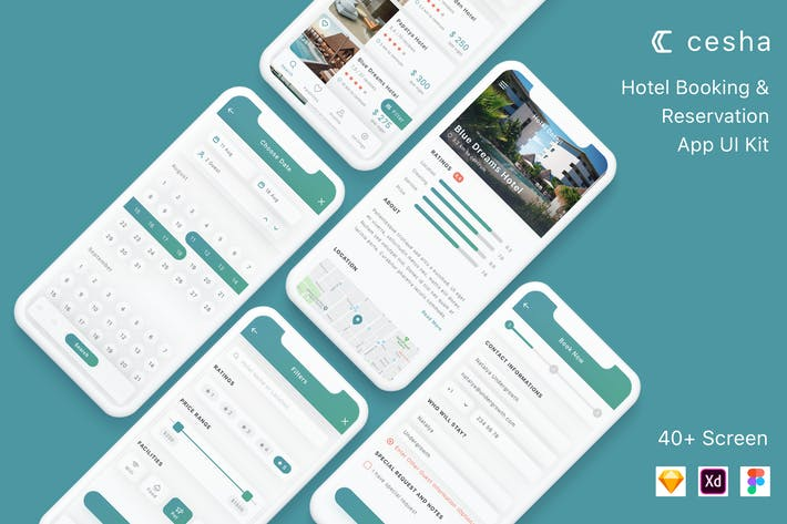 Cover Image For Cesha - Hotel Booking & Reservation App UI Kit
