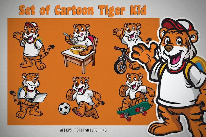 set of cartoon tiger kid