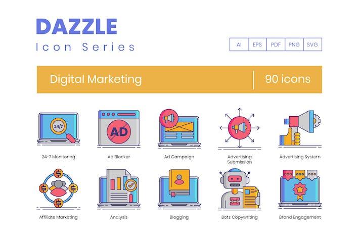 Thumbnail for 90 Digital Marketing Line Icons