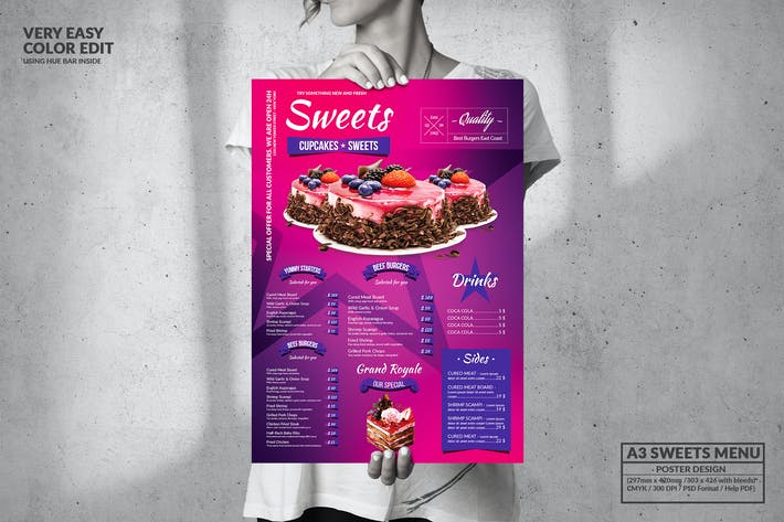 Thumbnail for Sweets Single Page Food Menu - Big A3 Size
