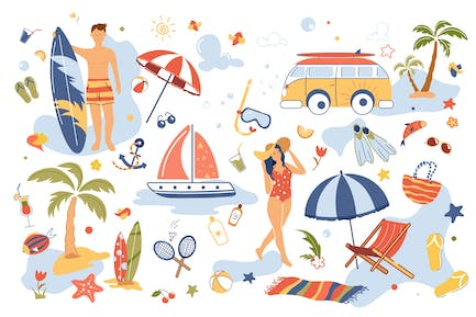 Summer Vacation Concept Isolated Elements Set