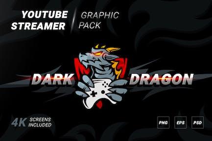 Dark dragon logotype with banner