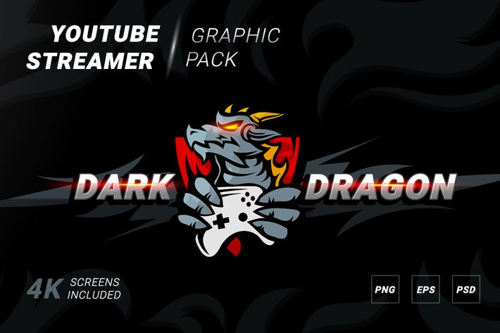 Dark dragon logotype with banner