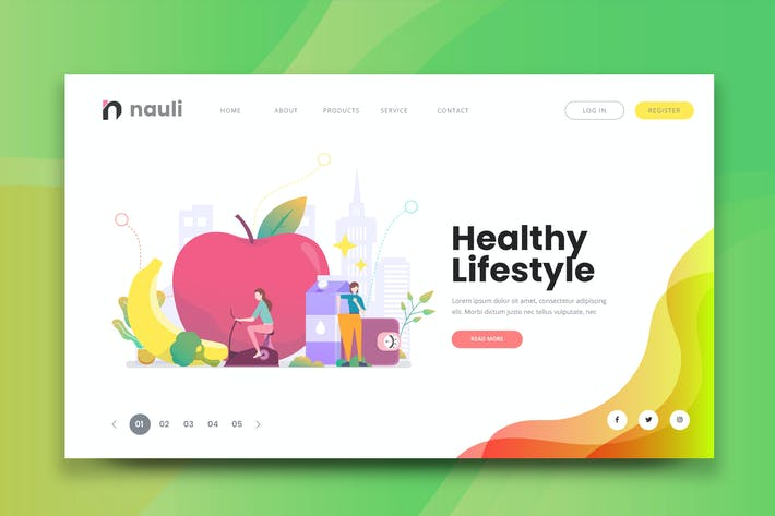 Thumbnail for Healthy Lifestyle Web PSD and AI Vector Template
