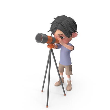 Cartoon Junge Jack Blick durch Teleskop