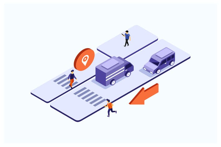 Thumbnail for Isometric Highway Vector Illustration