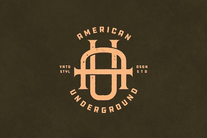 AU Vintage Monogram Logo