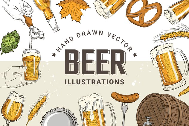 Hand Draw Beer Illustrations