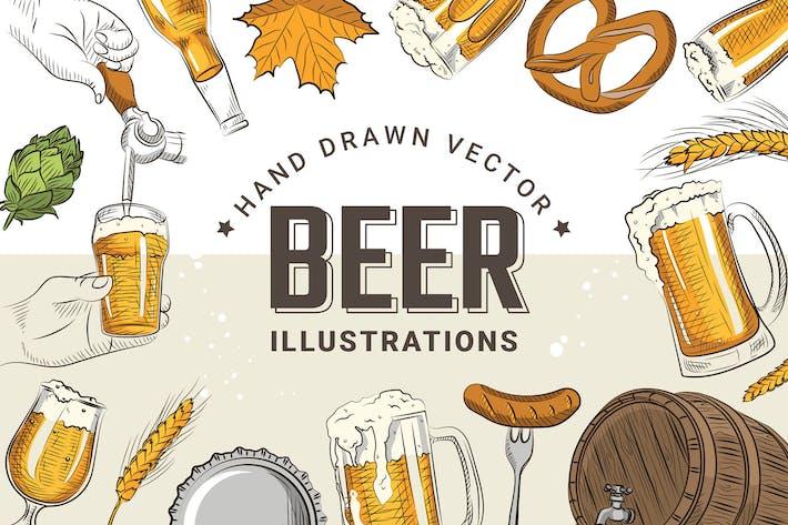 Ilustraciones de cerveza dibujar mano