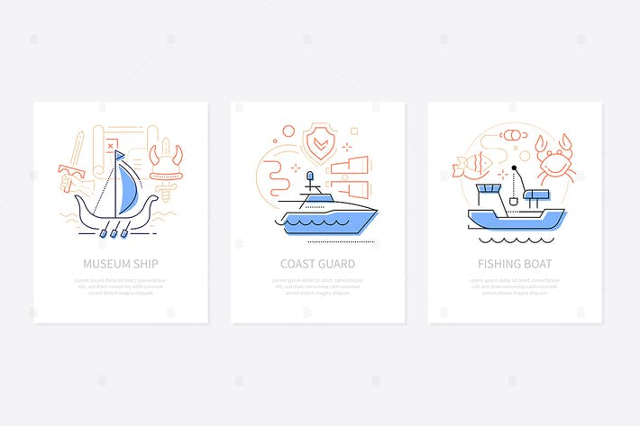Thumbnail for Water transport - line design style banners set