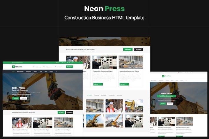 Thumbnail for NeonPress - Modèle HTML d'entreprise de construction