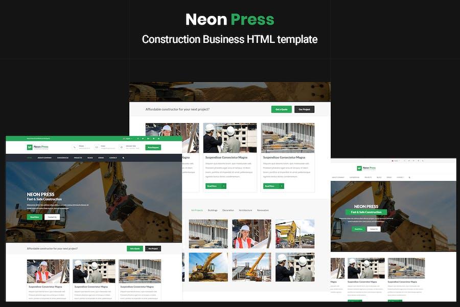 NeonPress - Construction Business HTML Template