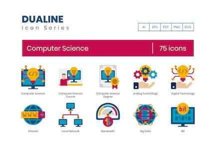 75 Íconos de ciencias de la computación - Dualine Flat Series