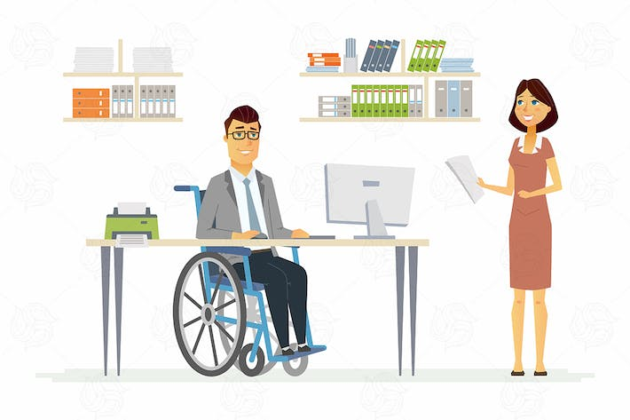 Thumbnail for Disabled man at work - vector illustration