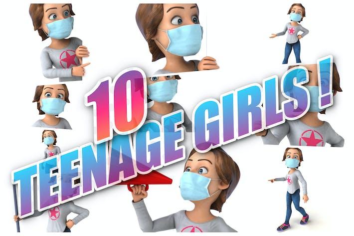 10 lustige Mädchen mit einer Maske