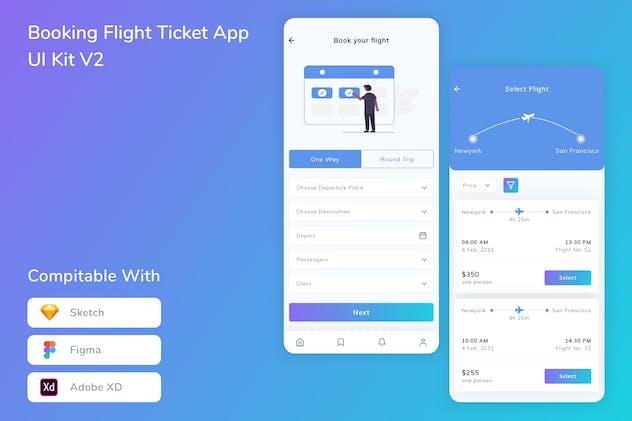 Booking Flight Ticket App UI Kit V2