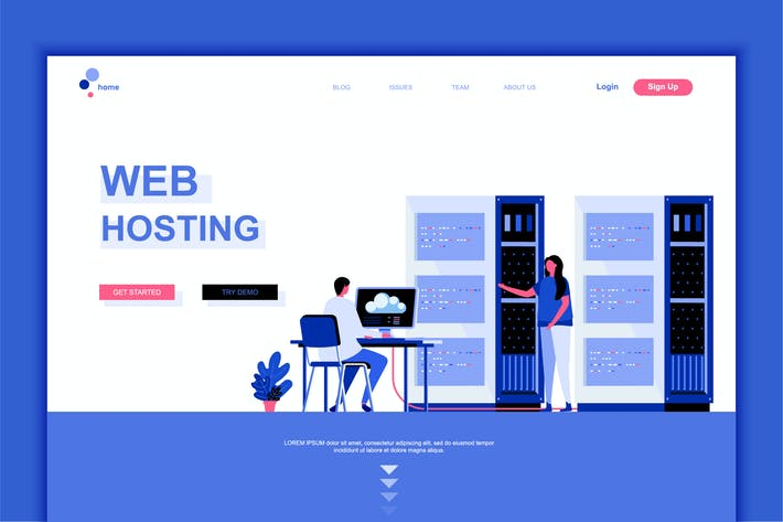 Thumbnail for Web Hosting Flat Landing Page Template