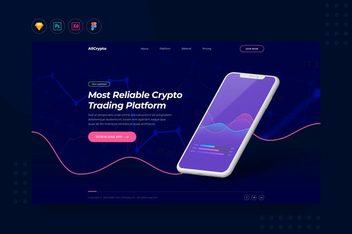 Thumbnail for DailyUI.V25 - Crypto Trading App Website Landing