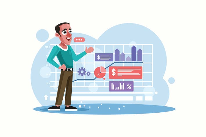 Thumbnail for Businessman Presenting Profit Chart Illustration