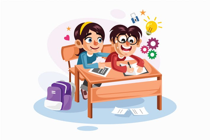 Cover Image For Young Couple Students Vector Illustration
