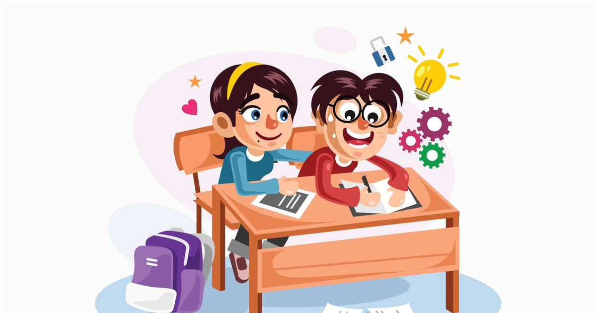 Download Young Couple Students Vector Illustration by IanMikraz
