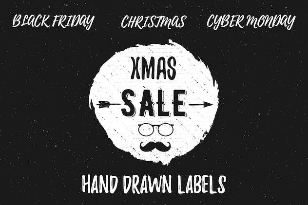 Hand Drawn Christmas Sale Labels / Logos
