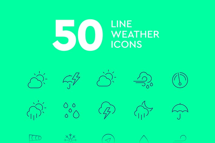 Thumbnail for 50 Line Weather Icons
