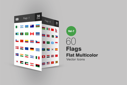 60 Flags Flat Multicolor Icons