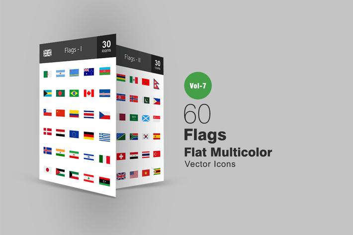 Thumbnail for 60 Flags Flat Multicolor Icons
