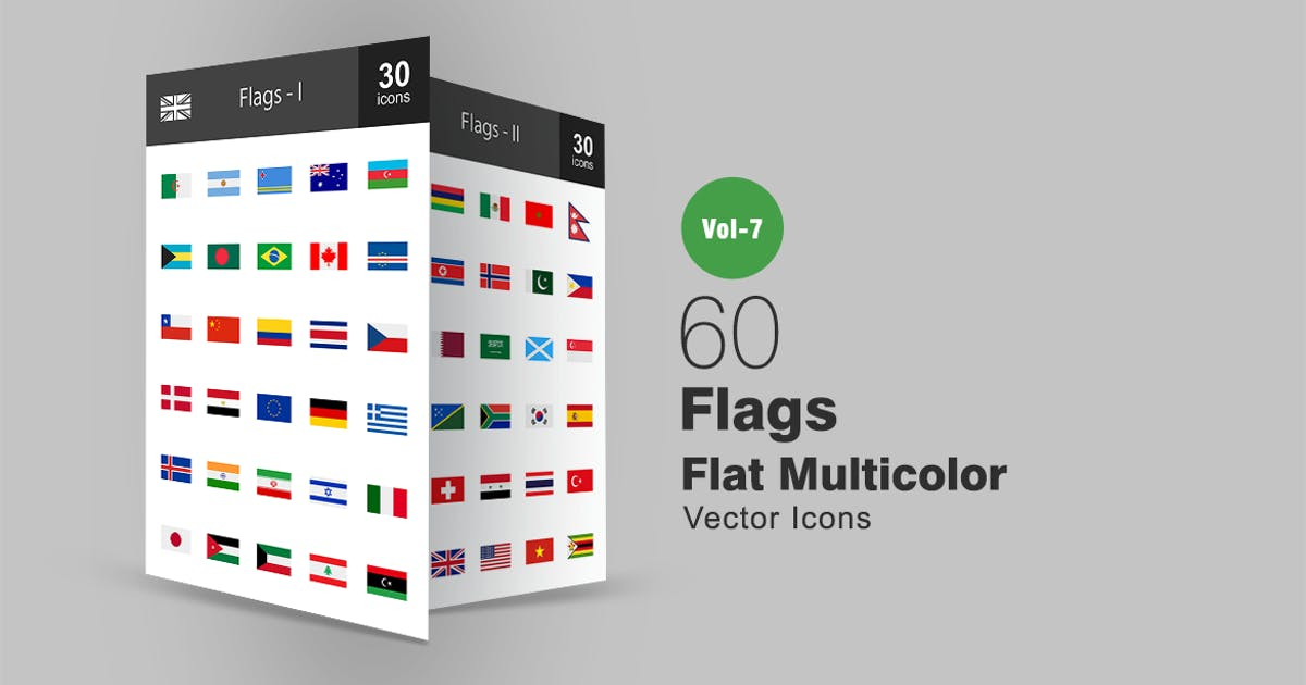 Download 60 Flags Flat Multicolor Icons by Unknow