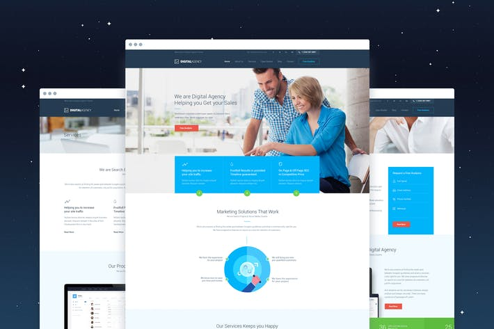 Thumbnail for Digital Agency - SEO / Marketing PSD Template