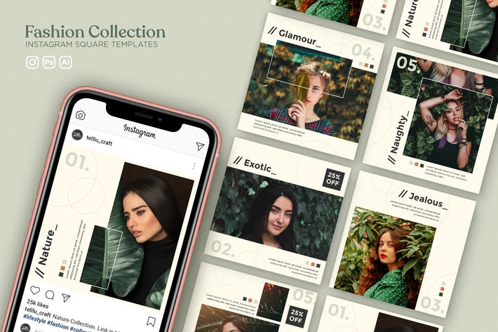 Thumbnail for Fashion Collection Instagram Square Templates