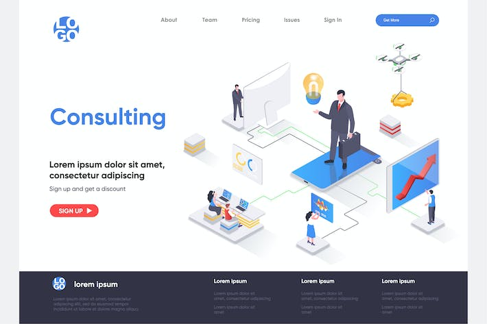 Thumbnail for Consulting Isometric Landing Page Template