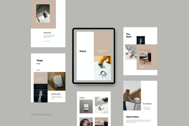 MACA - A4 Vertical Powerpoint Media Kit Template