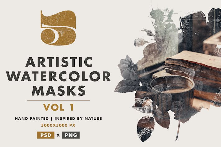 Thumbnail for 5 Artistic Watercolor Masks Vol 01