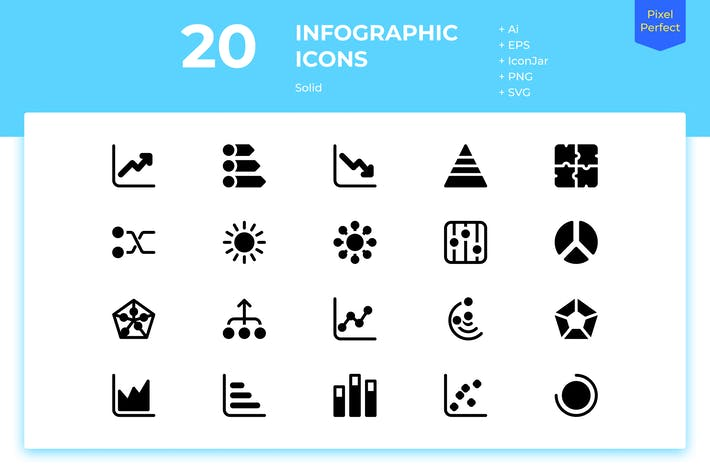 Cover Image For 20 Infographic Icons (Solid)