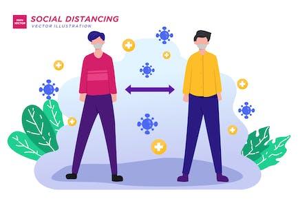 Ilustración plana de distanciamiento social