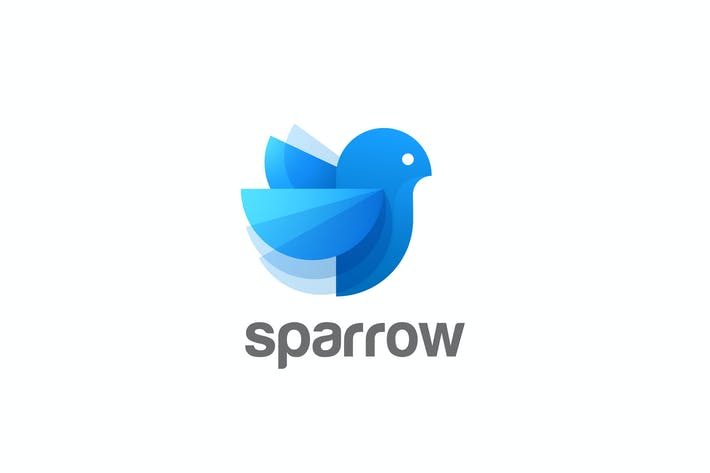 Thumbnail for Logo Bird abstract Blue Sparrow