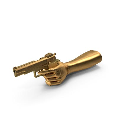 Golden Hand Pointing a Golden Gun