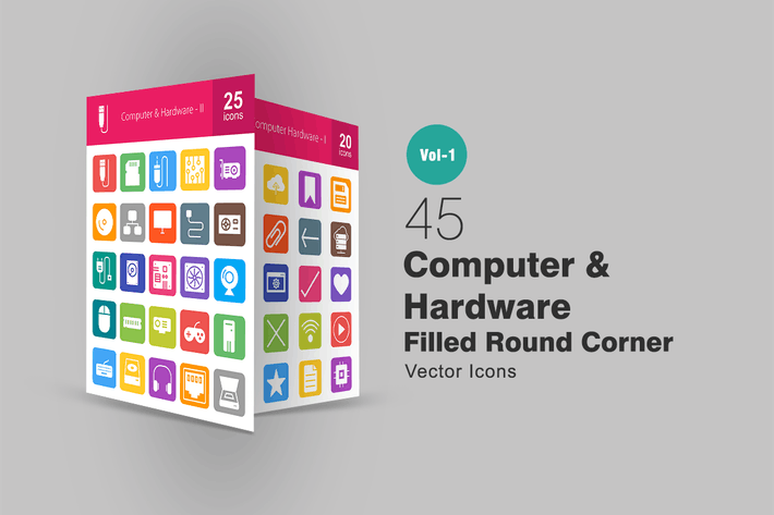 Thumbnail for 45 Computer Filled Round Corner Icons
