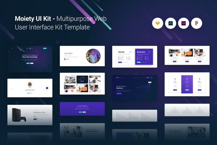 Thumbnail for Moiety Multi-purpose Web UI UX Kit Template Theme