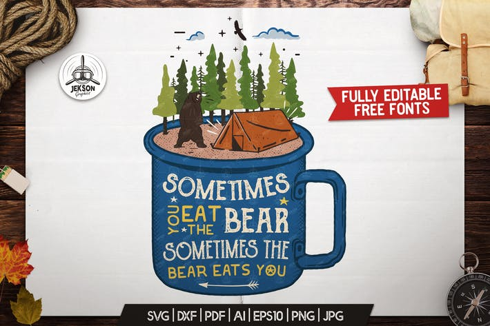 Thumbnail for Camp Vector Patch - Funny Wild Bear Retro Print