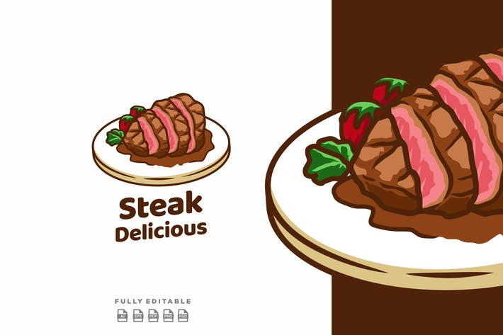Thumbnail for Steak Delicious Meat BBQ Logo