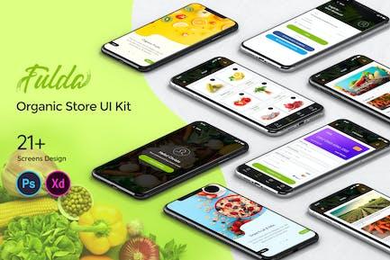 Fluda Organic Store Mobile App UI Kit
