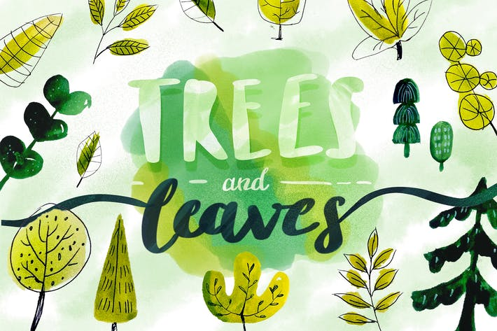 Thumbnail for Trees & Leaves - Watercolor Objects