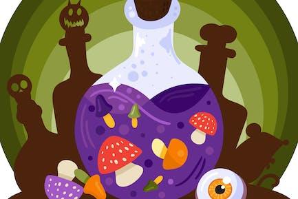Halloween Bottles Illustration
