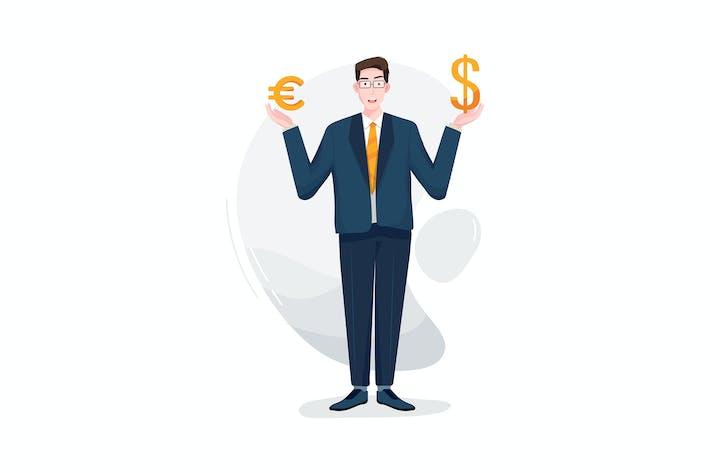 Бизнесмен, стоящий с двумя символами валюты