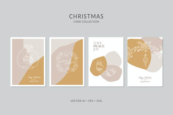Thumbnail for Christmas Greeting Card Vector Set